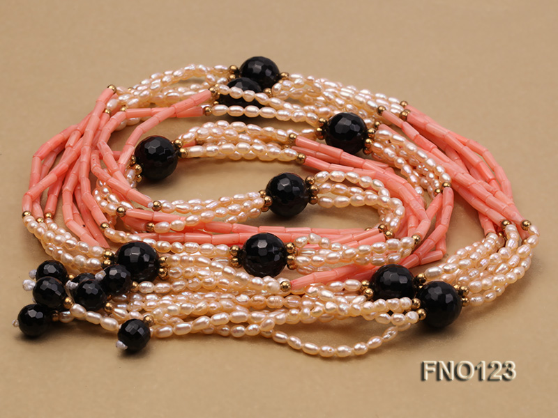 4x3mm pink rice pearl and orange coral and faceted black agate and golden metal beads necklace big Image 3