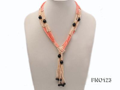 4x3mm pink rice pearl and orange coral and faceted black agate and golden metal beads necklace FNO123 Image 1