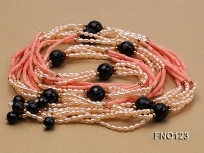 4x3mm pink rice pearl and orange coral and faceted black agate and golden metal beads necklace FNO123 Image 3
