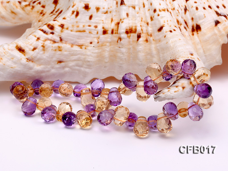 6x8.5mm Yellow and Purple Faceted Crystal Elasticated Bracelet big Image 3