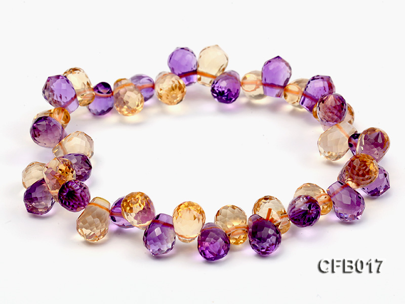 6x8.5mm Yellow and Purple Faceted Crystal Elasticated Bracelet big Image 1