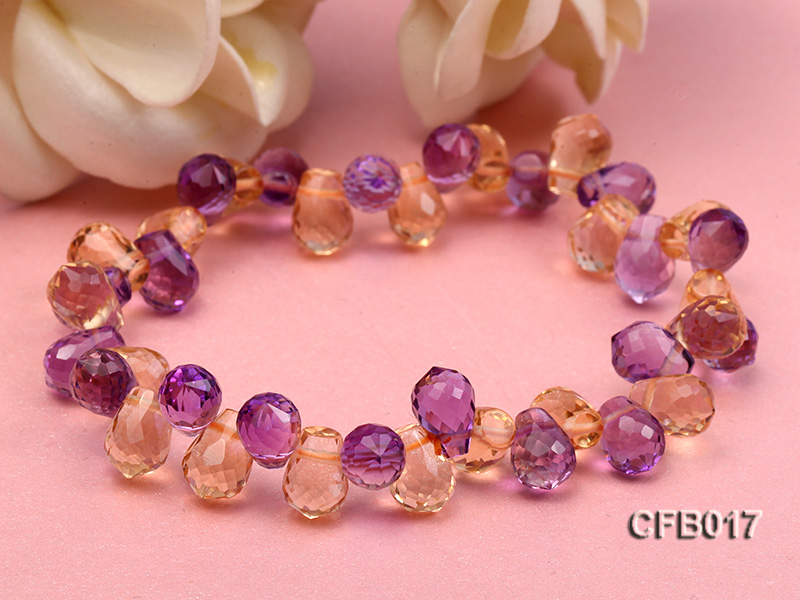 6x8.5mm Yellow and Purple Faceted Crystal Elasticated Bracelet big Image 4