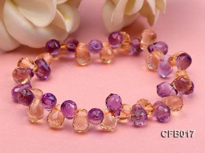 6x8.5mm Yellow and Purple Faceted Crystal Elasticated Bracelet CFB017 Image 4