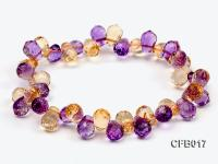 6x8.5mm Yellow and Purple Faceted Crystal Elasticated Bracelet CFB017
