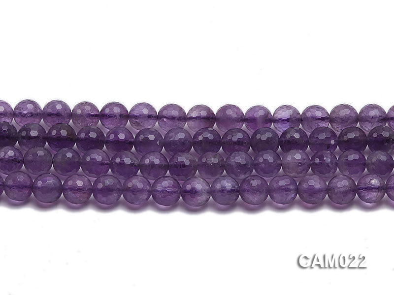 Wholesale 6mm Round Translucent Faceted Amethyst Beads String big Image 2