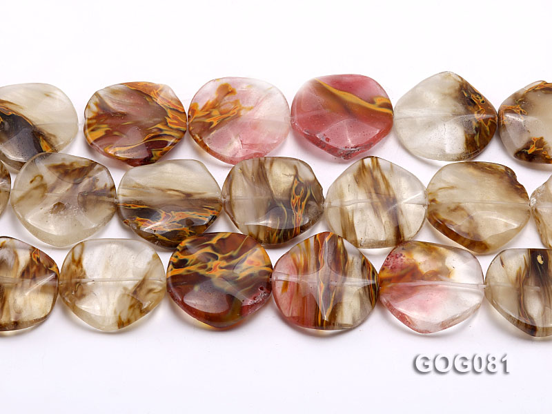 Wholesale 30mm Disc-shaped Semiprecious Stone String big Image 2