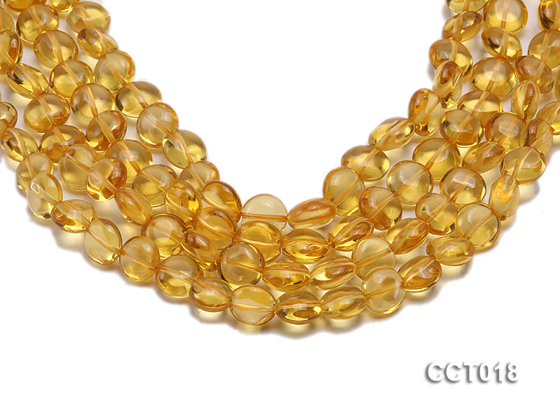 Wholesale 11.5mm Button-shaped Translucent Citrine Beads String big Image 1