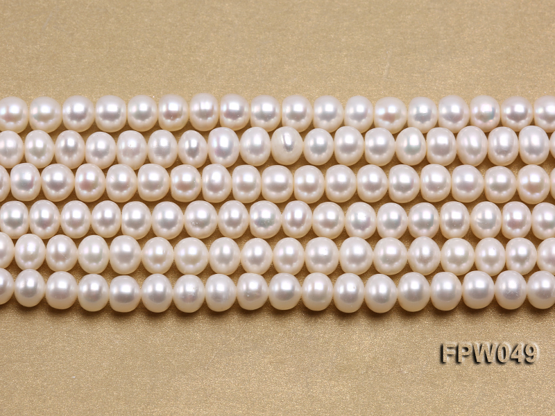 Wholesale 6x7.5mm white Flat Freshwater Pearl String big Image 1
