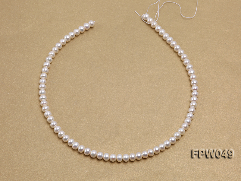 Wholesale 6x7.5mm white Flat Freshwater Pearl String big Image 3