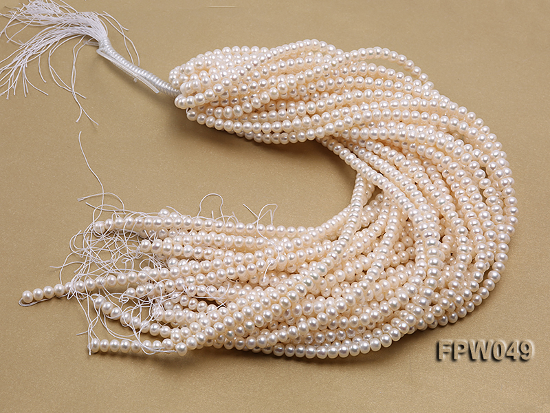 Wholesale 6x7.5mm white Flat Freshwater Pearl String big Image 4