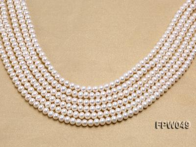 Wholesale 6x7.5mm white Flat Freshwater Pearl String FPW049 Image 2