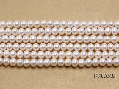 Wholesale 6x7.5mm white Flat Freshwater Pearl String FPW049 Image 1