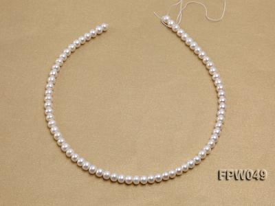 Wholesale 6x7.5mm white Flat Freshwater Pearl String FPW049 Image 3