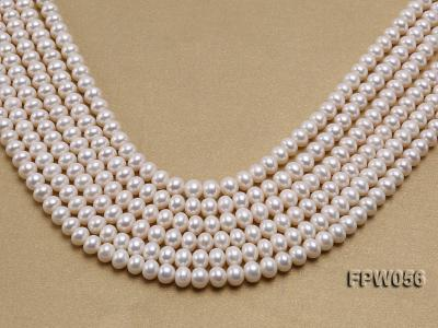 Wholesale 6x8mm Classic White Flat Cultured Freshwater Pearl String FPW056 Image 1