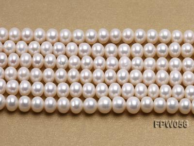 Wholesale 6x8mm Classic White Flat Cultured Freshwater Pearl String FPW056 Image 2
