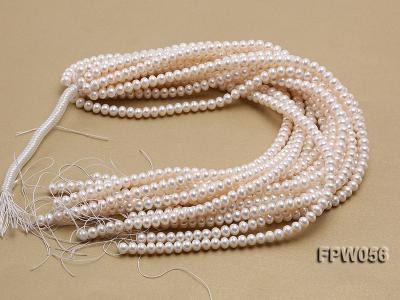 Wholesale 6x8mm Classic White Flat Cultured Freshwater Pearl String FPW056 Image 4