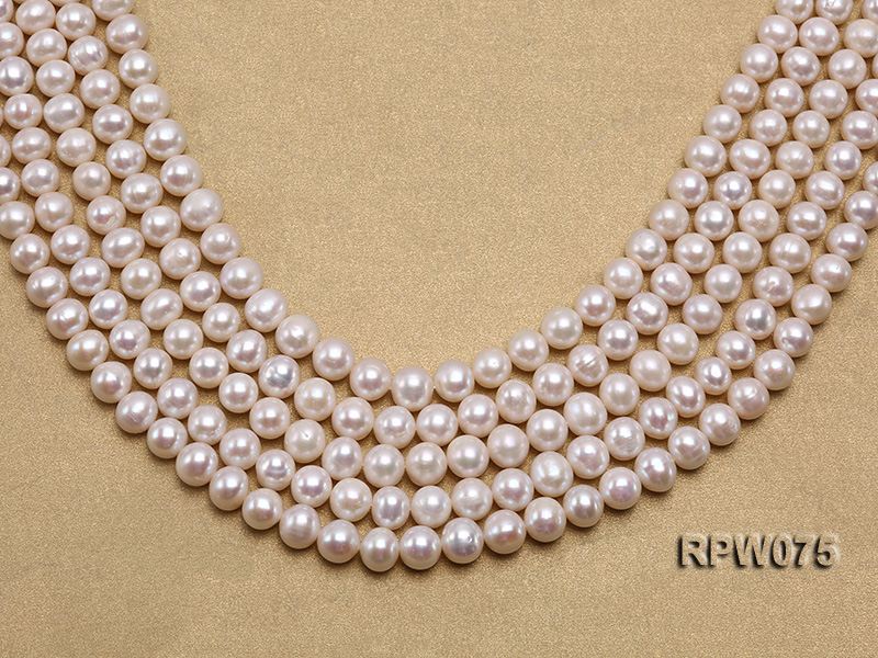 Wholesale 7-7.5mm Classic White Round Freshwater Pearl String big Image 1