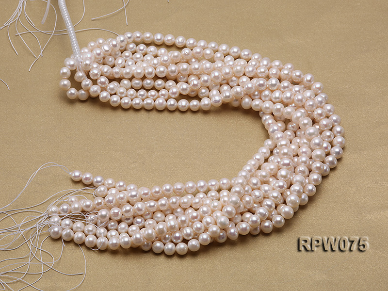 Wholesale 7-7.5mm Classic White Round Freshwater Pearl String big Image 4