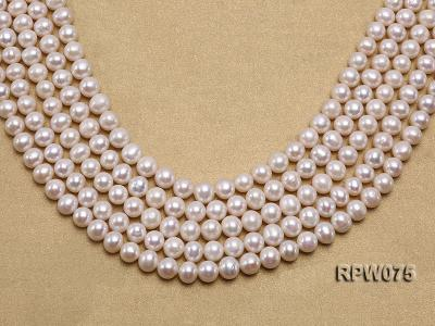 Wholesale 7-7.5mm Classic White Round Freshwater Pearl String RPW075 Image 1