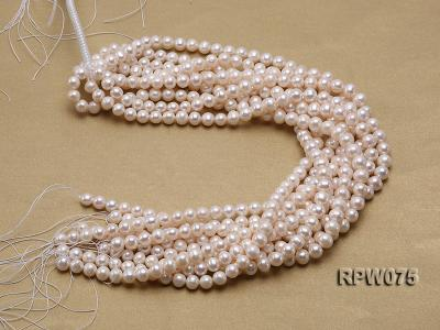 Wholesale 7-7.5mm Classic White Round Freshwater Pearl String RPW075 Image 4