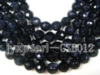 wholesale 7.5mm faceted round Blue Sand Stone strings GSB012