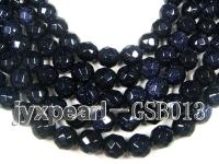 wholesale 10.5mm faceted round Blue Sand Stone strings GSB013