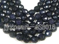 wholesale 13.5mm faceted round Blue Sand Stone strings GSB015