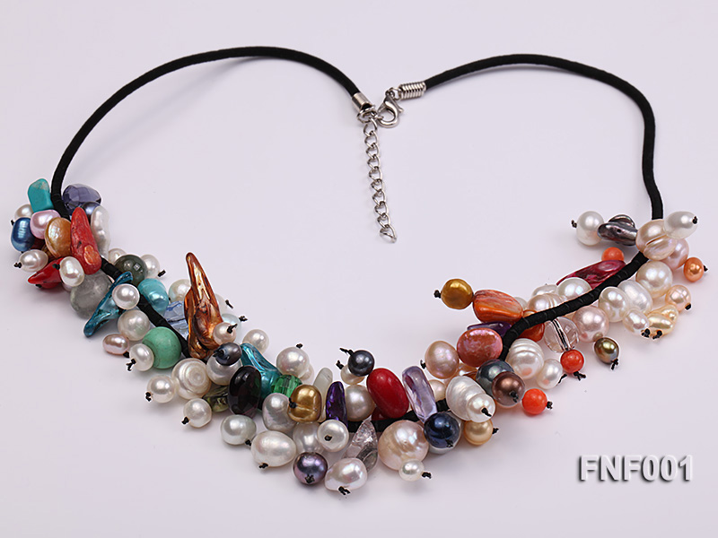 Colorful Round and Baroque Freshwater Pearl Necklace with Crystal and Coral Beads  big Image 2