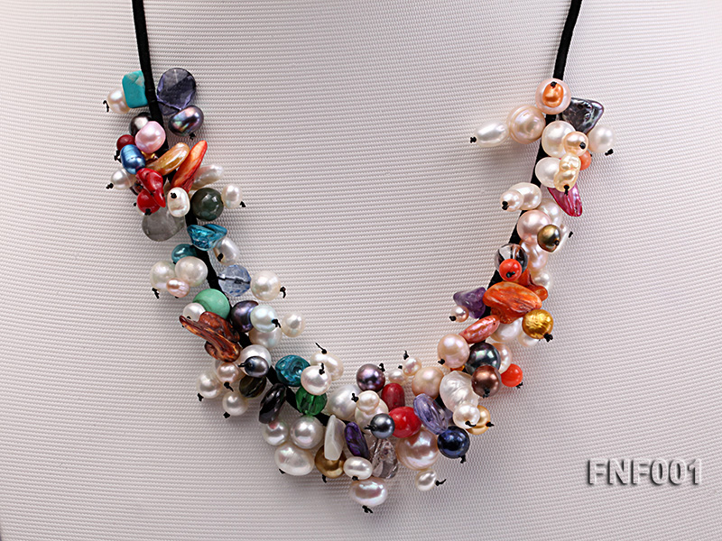 Colorful Round and Baroque Freshwater Pearl Necklace with Crystal and Coral Beads  big Image 3