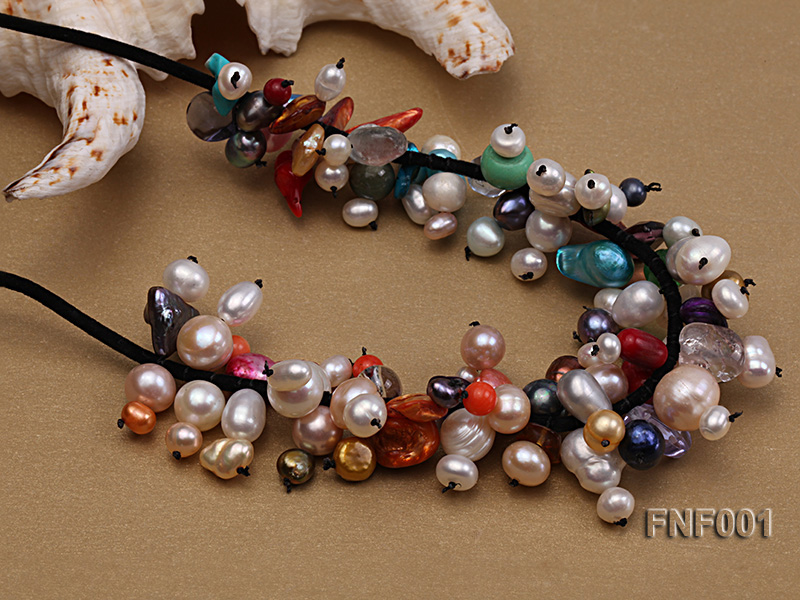 Colorful Round and Baroque Freshwater Pearl Necklace with Crystal and Coral Beads  big Image 4