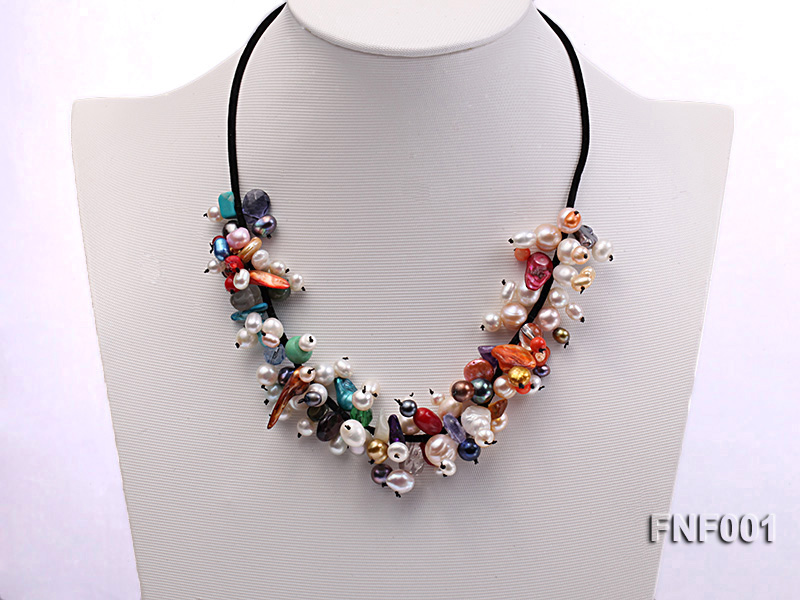 Colorful Round and Baroque Freshwater Pearl Necklace with Crystal and Coral Beads  big Image 1