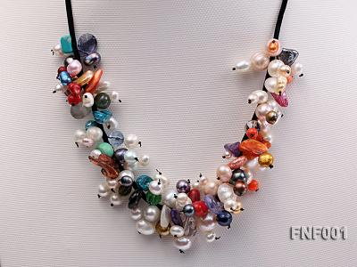 Colorful Round and Baroque Freshwater Pearl Necklace with Crystal and Coral Beads  FNF001 Image 3