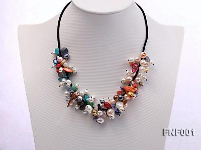 Colorful Round and Baroque Freshwater Pearl Necklace with Crystal and Coral Beads  FNF001 Image 1