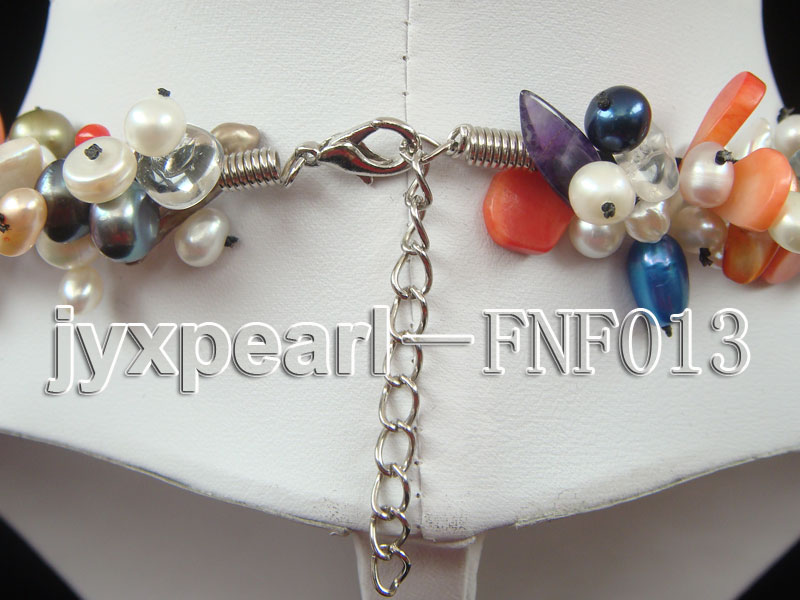Multi-color Round and Baroque Freshwater Pearl Necklace with Crystal chips and Coral Beads big Image 5