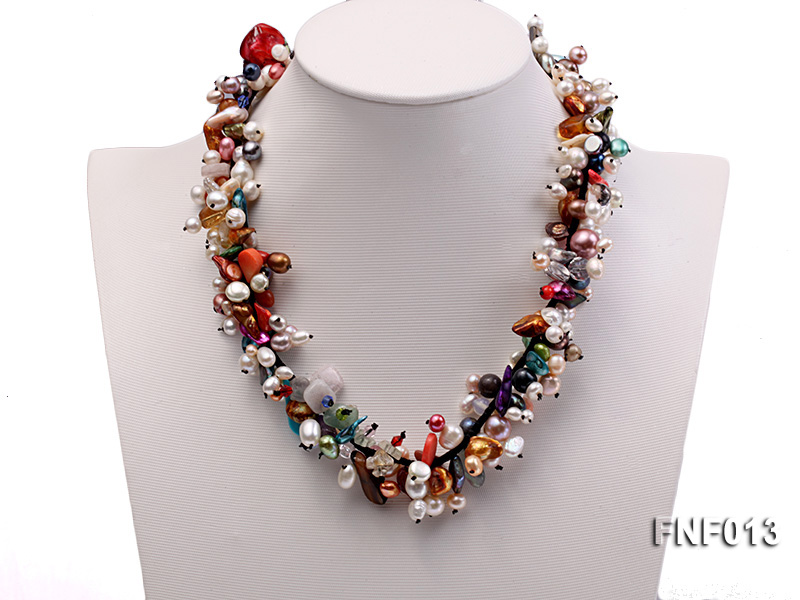 Multi-color Round and Baroque Freshwater Pearl Necklace with Crystal chips and Coral Beads big Image 1