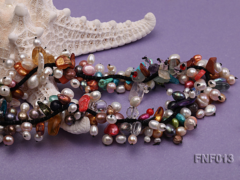 Multi-color Round and Baroque Freshwater Pearl Necklace with Crystal chips and Coral Beads big Image 4