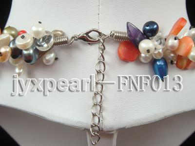 Multi-color Round and Baroque Freshwater Pearl Necklace with Crystal chips and Coral Beads FNF013 Image 5