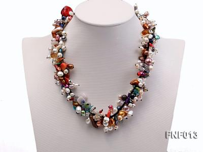 Multi-color Round and Baroque Freshwater Pearl Necklace with Crystal chips and Coral Beads FNF013 Image 1