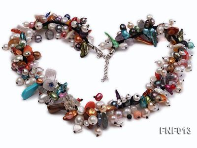 Multi-color Round and Baroque Freshwater Pearl Necklace with Crystal chips and Coral Beads FNF013 Image 2