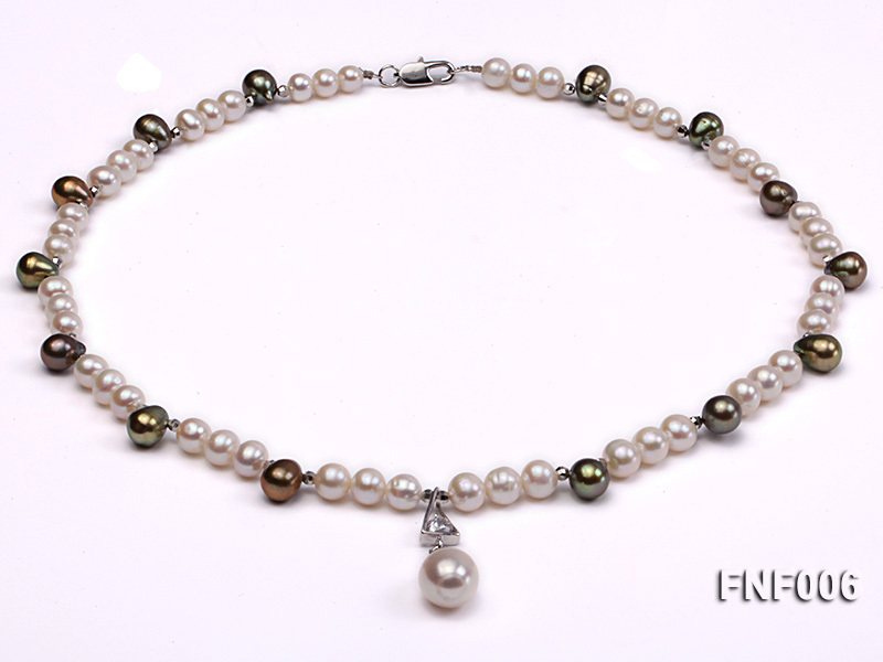 Classic White and Coffee Freshwater Pearl Necklace with a Pearl Pendant big Image 1