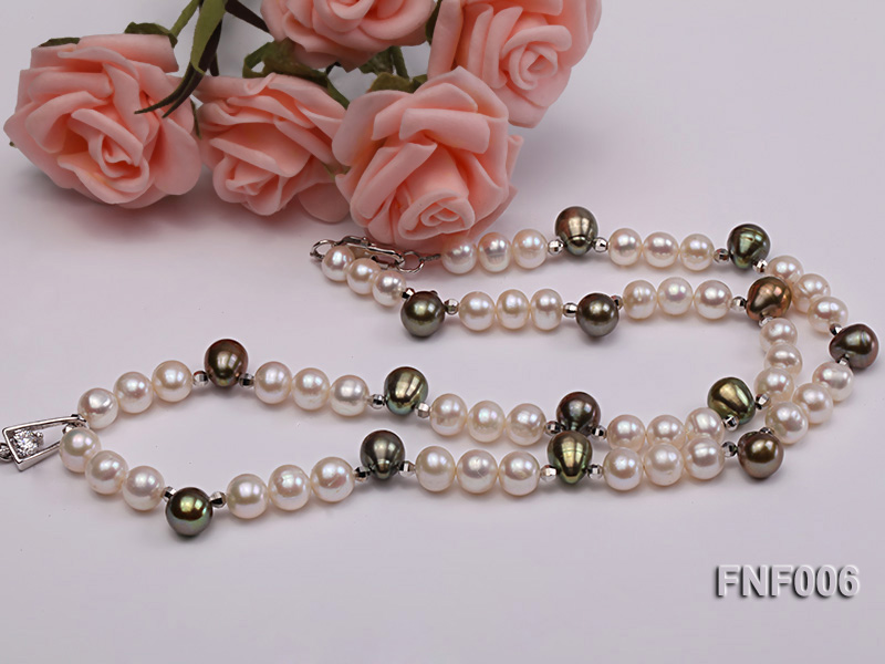 Classic White and Coffee Freshwater Pearl Necklace with a Pearl Pendant big Image 3