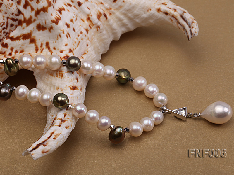 Classic White and Coffee Freshwater Pearl Necklace with a Pearl Pendant big Image 4