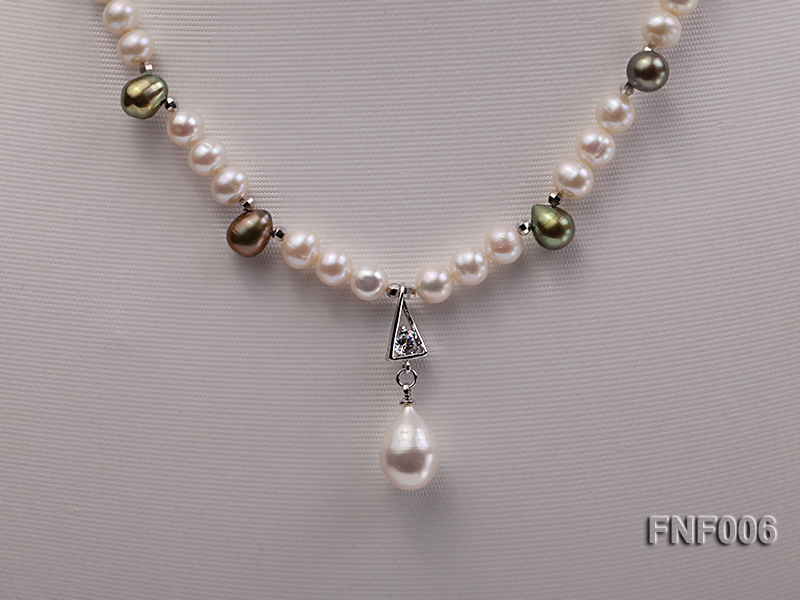 Classic White and Coffee Freshwater Pearl Necklace with a Pearl Pendant big Image 6