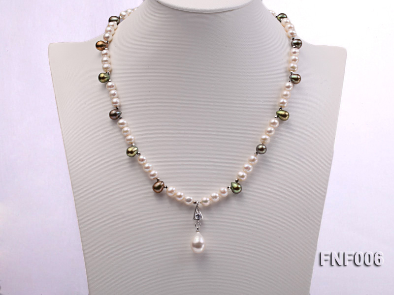 Classic White and Coffee Freshwater Pearl Necklace with a Pearl Pendant big Image 2