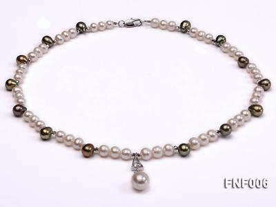 Classic White and Coffee Freshwater Pearl Necklace with a Pearl Pendant FNF006 Image 1