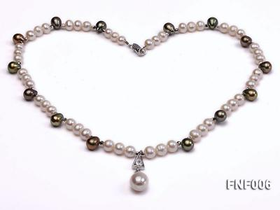 Classic White and Coffee Freshwater Pearl Necklace with a Pearl Pendant FNF006 Image 5