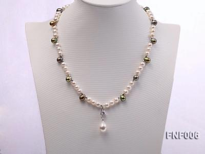 Classic White and Coffee Freshwater Pearl Necklace with a Pearl Pendant FNF006 Image 2