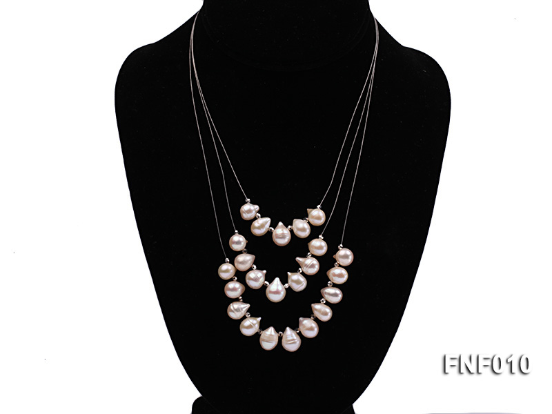 Three-Row 8-16mm White Freshwater Pearl Necklace with Argent Gilded Metal Beads big Image 1