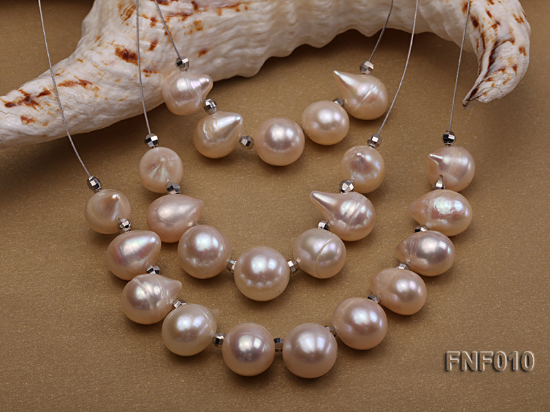 Three-Row 8-16mm White Freshwater Pearl Necklace with Argent Gilded Metal Beads big Image 3