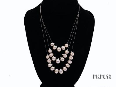 Three-Row 8-16mm White Freshwater Pearl Necklace with Argent Gilded Metal Beads FNF010 Image 1